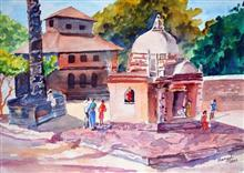 Painting by Mangal Gogte - Praying, Goa