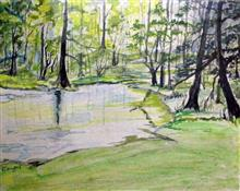 Painting by Mangal Gogte - Through a jungle, Alibag