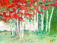 Red bloom in the Jungle, Painting by Mangal Gogte