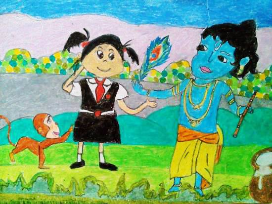 Painting  by Sharlina Shete - Little Krishna & Me