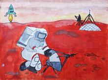 Painting  by Sharlina Shete - Journey to Red Mars
