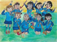 Painting  by Sharlina Shete - Playing for fun - India Hockey team