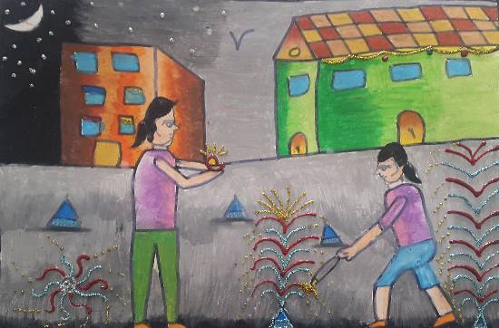 painting by Naavya Vishal Jariwala - Festival of Lights