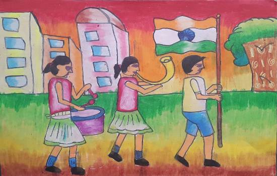 painting by Naavya Vishal Jariwala - Republic day