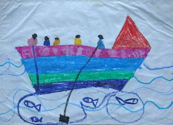 painting by Chinmayee Anand Naravane - Boat