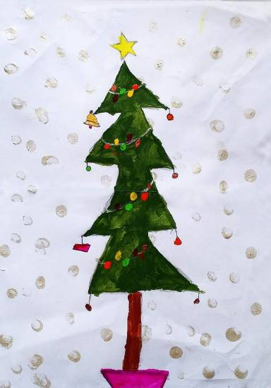 painting by Chinmayee Anand Naravane - Christmas Tree