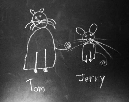 Tom and Jerry, painting by Chinmayee Anand Naravane