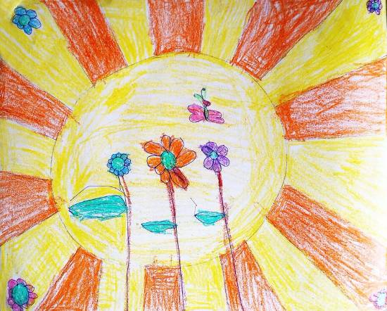 Painting  by Chinmayee Anand Naravane - Sun and Flowers