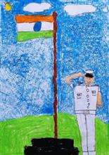 Painting  by Chinmayee Anand Naravane - India flag