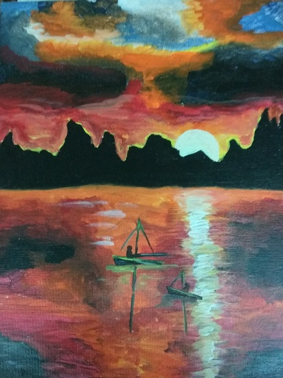 painting by Shrey Setu Jogani - Sunset scenery