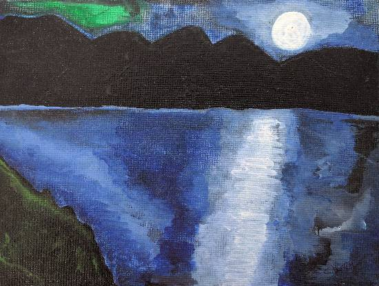 Moon light scenery, painting by Shrey Setu Jogani
