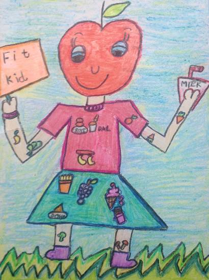 painting by Shambhawi Vermaa - Food - Eat Right, Stay Healthy (FIT Kid)