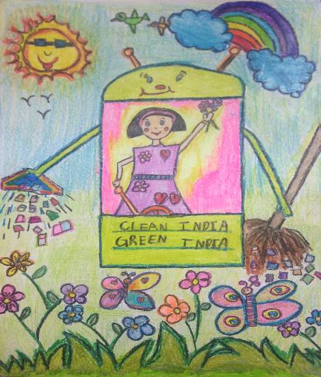 Clean India, Green India - Swachh Bharat, painting by Shambhawi Vermaa