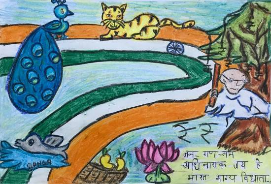 Painting  by Shambhawi Vermaa - Colours of our National symbols