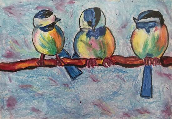Birds of feathers flock together - 2, painting by Shambhawi Vermaa