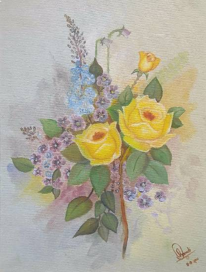 Painting  by Hamdi Imran - Yellow roses