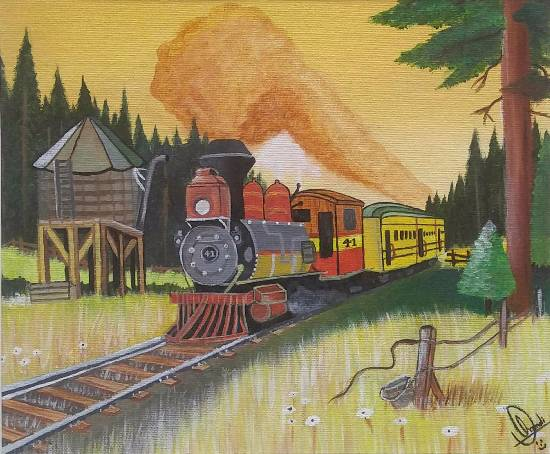 Painting  by Hamdi Imran - Railway