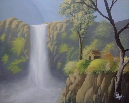 Painting  by Hamdi Imran - waterfall