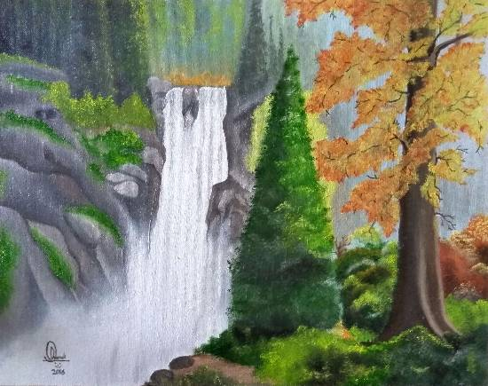 Painting  by Hamdi Imran - Waterfalls