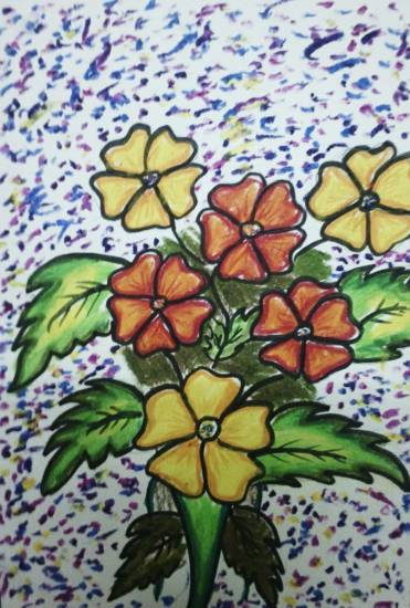 A bunch of flowers, painting by Meet Chawla