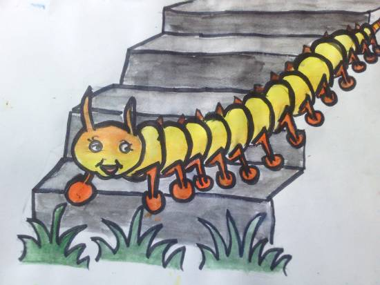 painting by Meet Chawla - Caterpillar