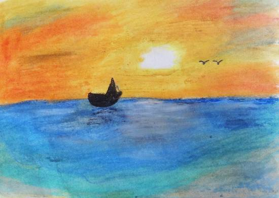painting by Tanay Nikheel Kelkar - Sunset