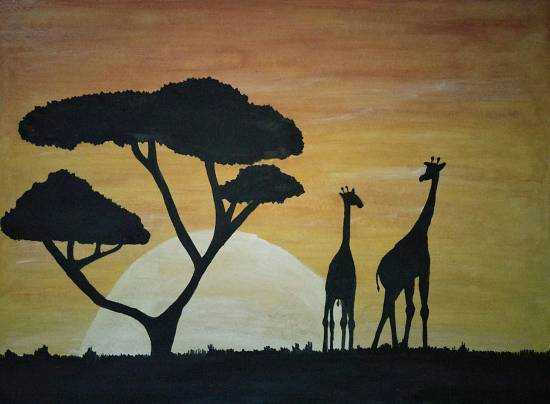 Painting  by Tanay Nikheel Kelkar - African sunset
