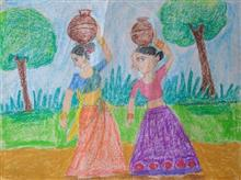Painting  by Aliya Ahmed - Rural Life