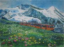 Painting by Poonam Juvale - Red Train in Switzerland