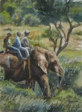 Painting by Poonam Juvale - Elephant Riding
