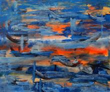 Swimming towards light, Painting by Vinay Sane