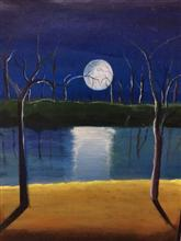 Painting  by Prisha Hiren Ajmera - Moonlight