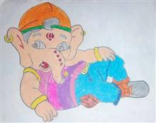 Painting  by Aaryan Umesh Kulkarni - Ganesha - 2