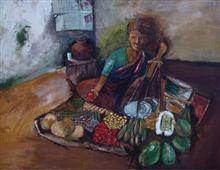 Vegetable Seller, painting by Vijaya Rajagopalan