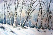 Painting by Asmita Ghate - Winter Forest