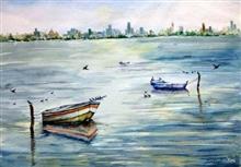 Resting on Waves, painting by Asmita Ghate