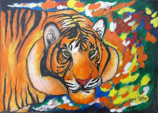 painting by Siddhanth Mukul Saha - Tiger - Proud of India