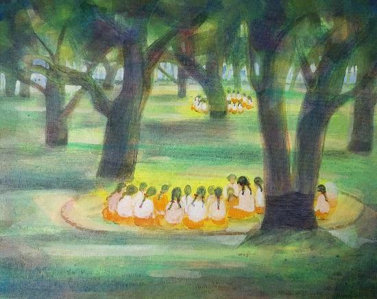 Shantiniketan, painting by Kabari Banerji