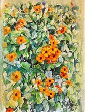 Amber blossoms, Painting by Lasya Upadhyaya