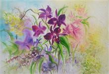 Symphony of orchids, painting by Lasya Upadhyaya