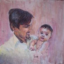 Painting by Lasya Upadhyaya - Dad & Daughter
