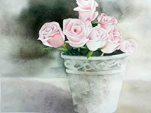 Rose Delight, painting by Poulami Basu