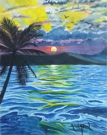 Sunset, painting by Daljeet Kaur