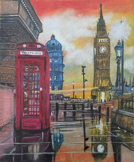 painting by Daljeet Kaur - A dream to london