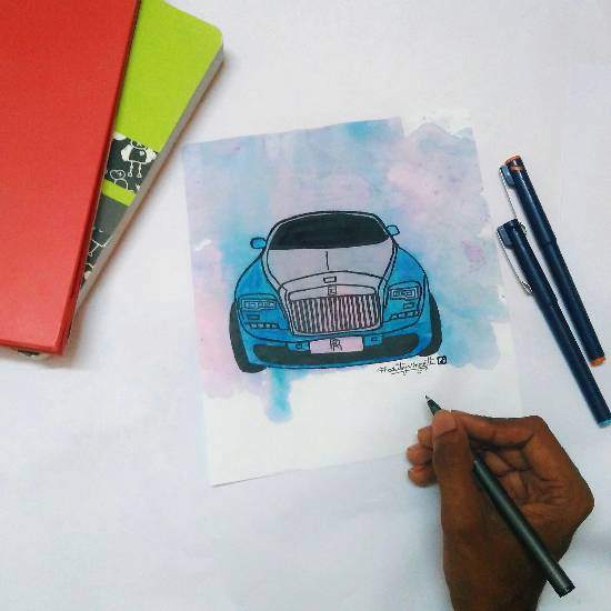 Painting  by Kovuru Vineeth Kumar - Rolls Royce
