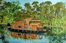 Serene Abode (Kerala backwaters), painting by Madhavi Srivastava