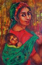 Painting by Kajal Bhattacharya - Mother and Child