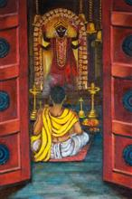 Painting by Kajal Bhattacharya - Devotion - 2