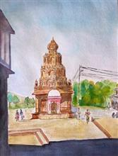 Painting by Vikram Jadhav - Temple at Wai