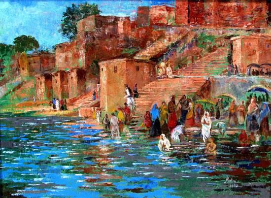 River Ghats - III, Painting by Artist Nalini Bhagwat